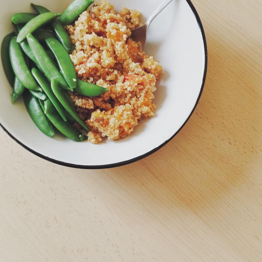 Butternut Squash & Tomato Quinoa with Sugar Snap Peas